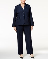 Le Suit Plus Size Pinstripe Two Button Pantsuit Navy