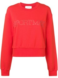 Sportmax Logo Crew Neck Sweater Red