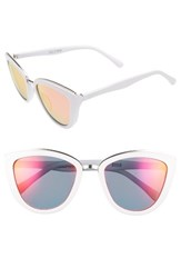 Diff Women's Rose 56Mm Cat Eye Sunglasses White Red White Red