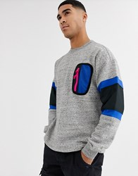 Converse Mountain Club Patch Pocket Crew Neck Sweat In Grey Marl