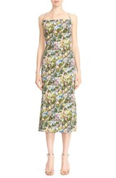 Cushnie Et Ochs Women's Floral Stretch Cady Lace Up Back Dress