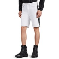 Givenchy Logo Striped Denim Shorts White