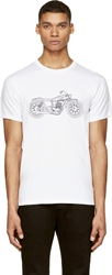 Marc By Marc Jacobs White And Black Embroidered Motorcycle T Shirt