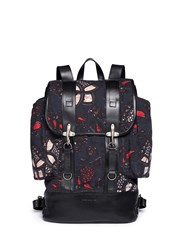 Dries Van Noten Floral Print Canvas Backpack Blue