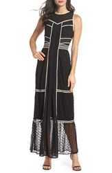 Harlyn Embroidered Dot Gown Black Ivory