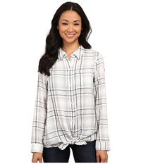 Dkny Flannel Plaid Shirt White Women's Long Sleeve Button Up