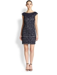 Kay Unger Beaded Cap Sleeve Dress Navy Multi