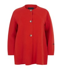 Marina Rinaldi Collarless Wool Coat Orange