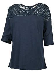 Fat Face Rosside Lace Panel T Shirt Indigo