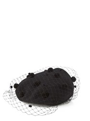 Benoit Missolin Jasmine Wool Beret With Veil And Pompoms Black