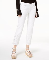 Michael Kors Embellished Cuff Cropped Jeans White Silver