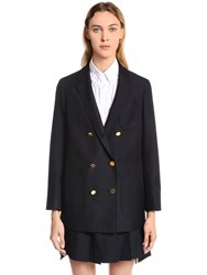 Thom Browne Double Breasted Wool And Mohair Blazer Blue