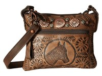 American West Trail Rider Hip Crossbody Bag Distressed Charcoal Brown Cross Body Handbags