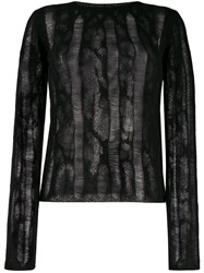 Saint Laurent Striped Knitted Sweater Black