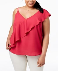 Soprano Trendy Plus Size Ruffled Top Brght Pink