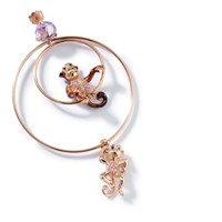Misis Sterling Silver Rose Plated Monkey Earrings Brown