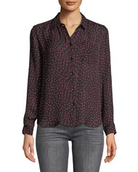 Philosophy Triangle Print Button Down Blouse Black Red