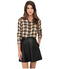 Lucky Brand Bungalow Plaid Brown Multi Women's Clothing