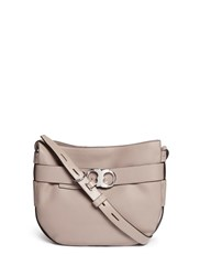 Tory Burch 'Gemini' Belted Pebbled Leather Hobo Bag Grey