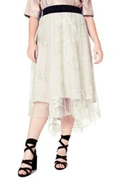 Elvi Plus Size Women's Embroidered High Low Tulle Skirt