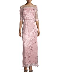 Brianna 3 4 Sleeve Embroidered Gown Light Pink