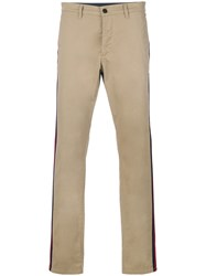 Hydrogen Chic Striped Chino Trousers Nude And Neutrals
