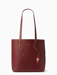 Kate Spade On Purpose Leather Snake Tote Cherry Wood