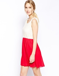 Jasmine Skater Dress With Lace Top Redcream
