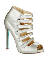 Betsey Johnson Heart Lace Open Toe Pumps Silver
