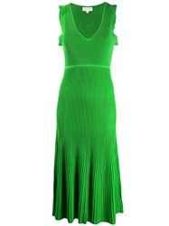 Michael Michael Kors Ribbed Midi Dress Green