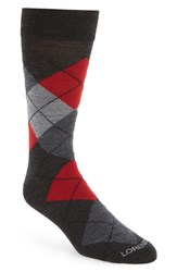 Lorenzo Uomo Men's Argyle Socks Charcoal