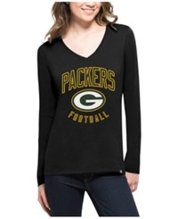 47 Brand '47 Women's Green Bay Packers Splitter Arch Long Sleeve T Shirt Black