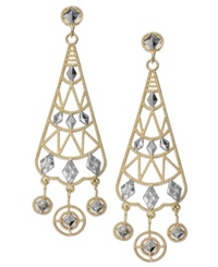 Macy's 14K Two Tone Chandelier Earrings