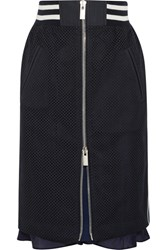Sacai Satin Trimmed Laser Cut Prince Of Wales Checked Cotton Jacquard Skirt Midnight Blue