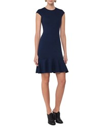 Akris Punto Cap Sleeve Jersey Flounce Hem Dress Navy
