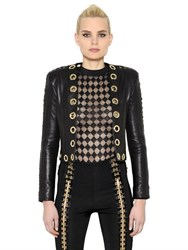 Balmain Gold Eyelets Lace Up Leather Jacket