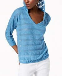 Inc International Concepts I.N.C. Striped Popover Hoodie Created For Macy's Chambray Blue