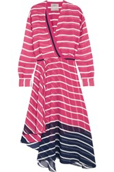 Preen By Thornton Bregazzi Flintoff Striped Silk Chiffon Dress Pink