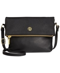 Giani Bernini Pebble Leather Zipper Mini Flap Crossbody Only At Macy's Black