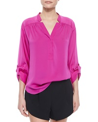 Milly 3 4 Sleeve Silk Crepe Blouse