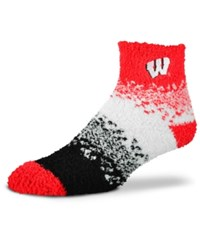 For Bare Feet Wisconsin Badgers Marquee Sleep Soft Socks Red Black White