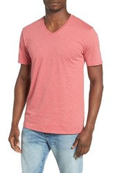 The Rail Men's Slub Cotton V Neck T Shirt Rust Redwood