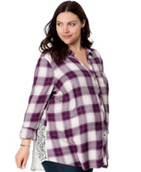 Wendy Bellissimo Maternity Plus Size Lace Inset Plaid Shirt Purple Plaid