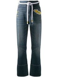 Mira Mikati Embroidered Patch Jeans Blue