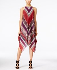 Inc International Concepts Printed Handkerchief Hem Shift Dress Only At Macy's Glazed Berry