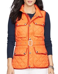 Lauren Ralph Lauren Belted Quilted Nylon Vest Orange