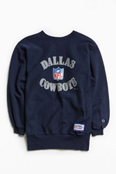 Urban Outfitters Vintage Champion Cowboys Crew Neck Sweatshirt Navy