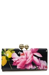 Ted Baker Marggo Citrus Bloom Printed Leather Matinee Wallet Black