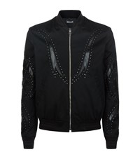 Just Cavalli Embellished Cotton Bomber Jacket Male Black