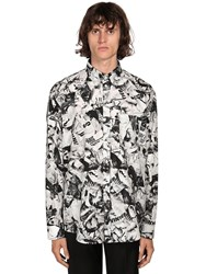 Balenciaga Ls Magazine Print Cotton Shirt Black